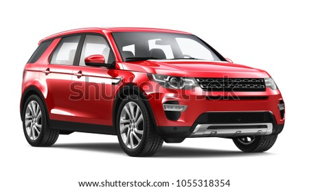 3D illustration of Red Suv Car on white background