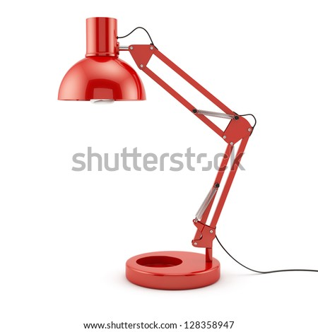 3d illustration of red table lamp isolated on white background