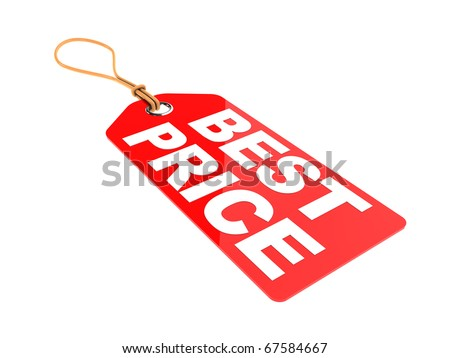 3d illustration of red tag with text 'best price' on it, isolated over white background