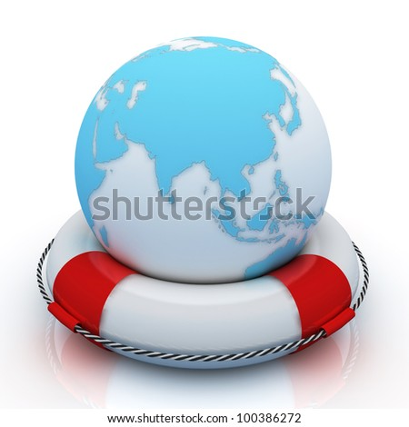 3d illustration of rescue circle with earth globe inside