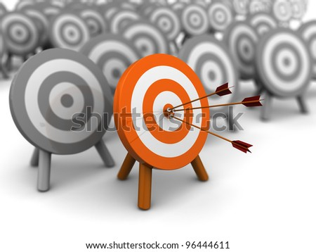 3d illustration of right target selection concept - stock photo