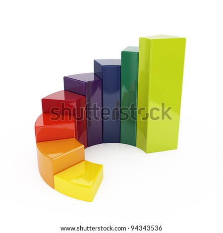 3d illustration of ring colorful chart isolated on white background