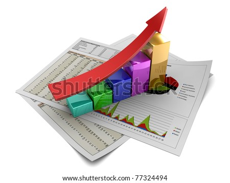 3d illustration of rising charts with red arrow