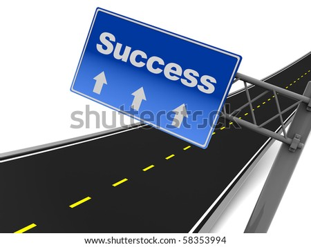 3d illustration of road sign with text 'success' on it