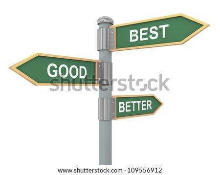 3d illustration of road signs of words good better best