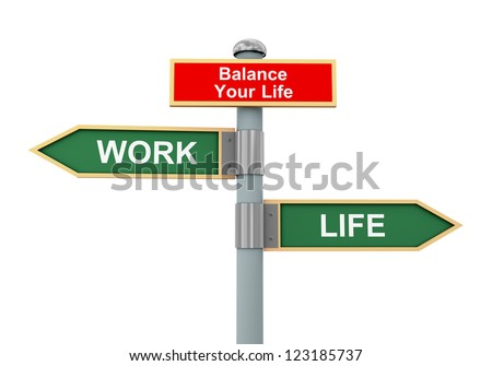 3d illustration of road signs of words life, work and balance your life