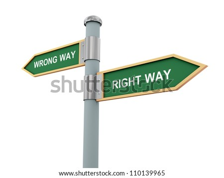 3d illustration of road signs of words right way and wrong way. - stock photo