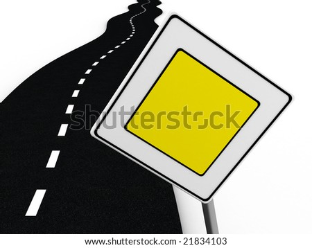 3d illustration of road with 'main road' sign over white background