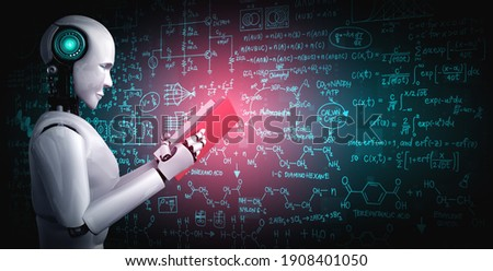 3D illustration of robot humanoid reading book and solving math data analytics in concept of future mathematics artificial intelligence, data mining and 4th fourth industrial automation revolution .