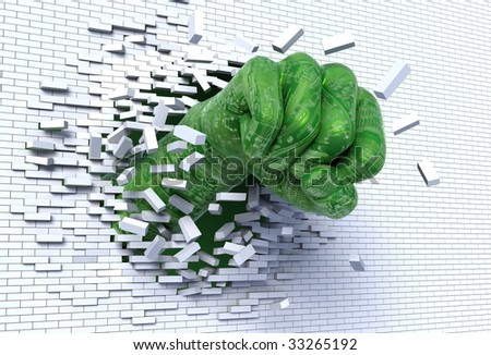 3D illustration of robotic hand punching and breaking through a brick wall, metaphor for technological break through and revolution