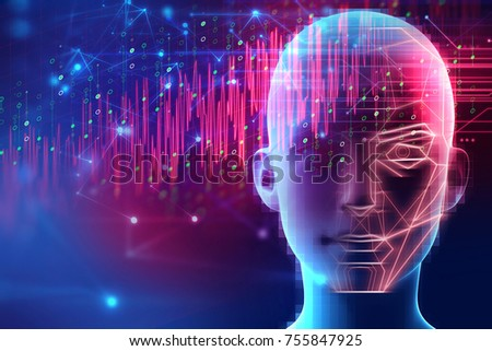 3d illustration of robotic human head with graphic element face represent artificial 