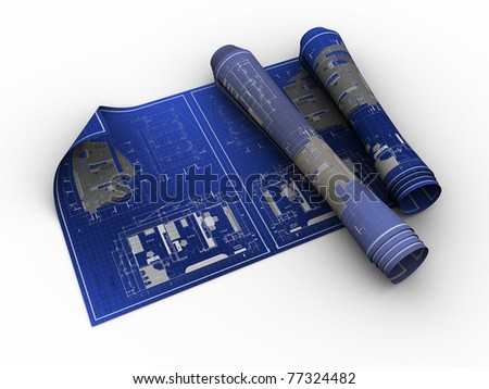 3d illustration of rolled blueprints over white background