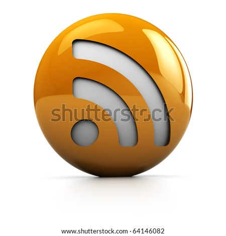 3d illustration of rss symbol orange sphere over white background