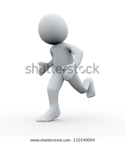3d Illustration of running man. 3d rendering of human character - stock photo