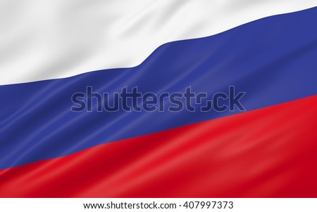 3D illustration of Russia flag