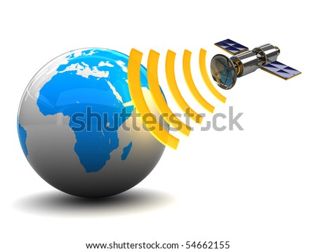 3d illustration of satellite and earth globe, over white background
