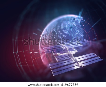 3d illustration of Satellite dish transmission data on abstract technology 