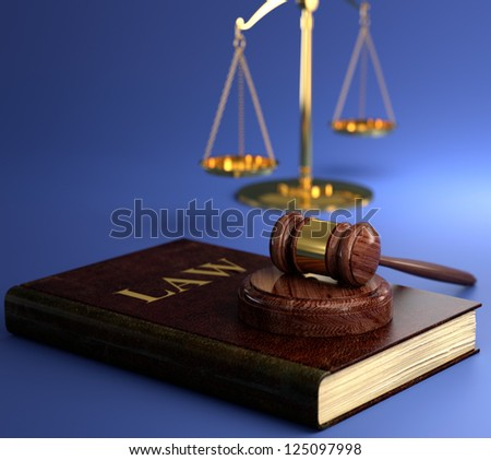 3D illustration of scales of justice, gavel and book on blue background. Law concept.