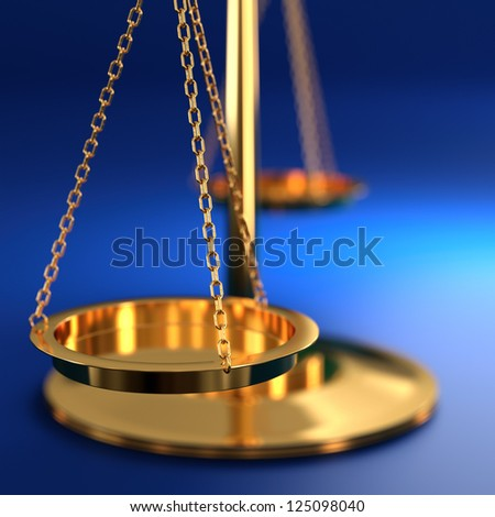 3D illustration of scales of justice on blue background