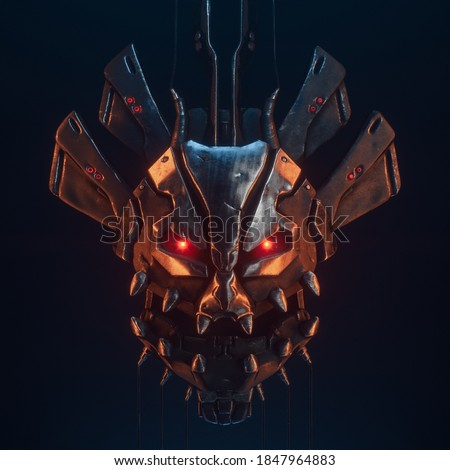 3d illustration of scary futuristic cyborg head with teeth, luminous red eyes, scratched grunge metal, black wires on dark background. Concept art of floating samurai robot man face. Cyber technology.