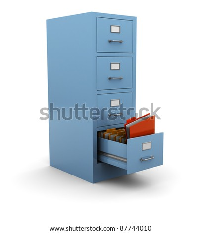 3d illustration of searching folder in drawer