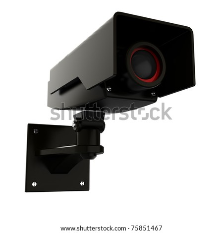 3d illustration of security camera isolated over white