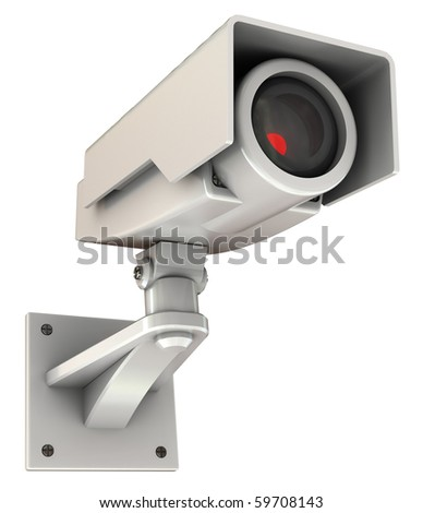 3d illustration of security camera with red light inside, isolated on white
