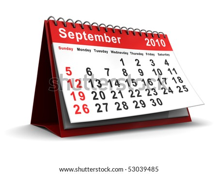 3d illustration of september 2010 calendar over white background