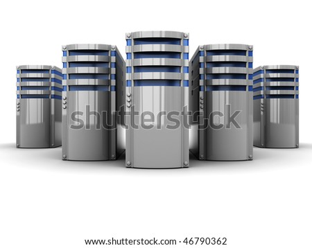 3d illustration of servers group over white background