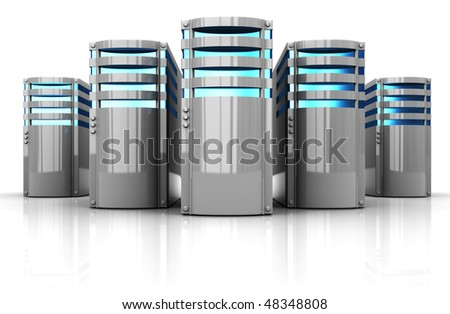 3d illustration of servers row over white background