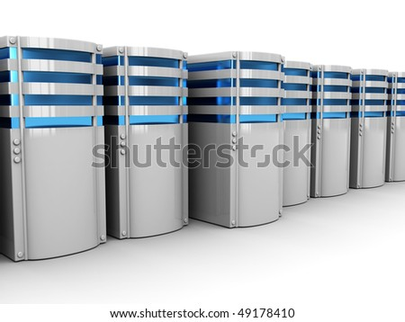3d illustration of servers row, over white background