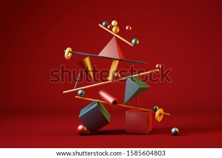 3D illustration of several colorful geometric figures placed forming a minimalist structure in balance that is about to fall. 3D rendering. Balance, imbalance, stability and instability concepts.
