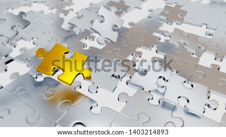3D illustration of Several Grey Puzzle pieces with few holes and one big gold piece with a white background