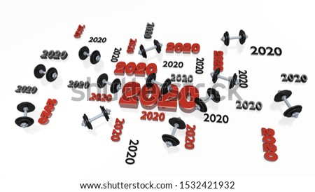 3D illustration of Several Hand Dumbbell 2020 Designs with Some Dumbbells on a White Background