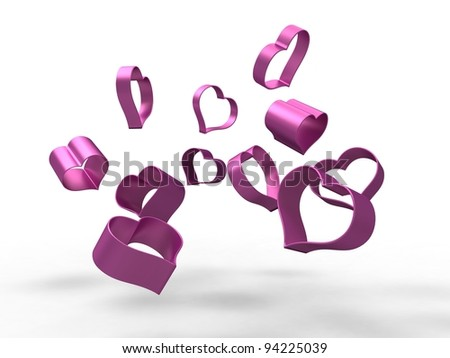 3d illustration of several hollow pink hearts falling on a white background