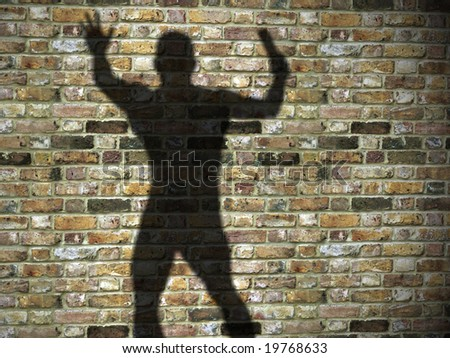 3d illustration of shadow on the wall, maniac, killer with blade