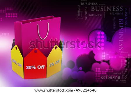 3d illustration of Shopping bag with discount tags - Shutterstock ID 498214540