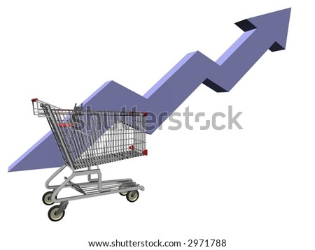 3d illustration of shopping cart and business trend line