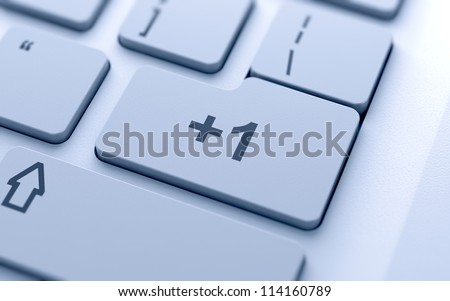 3d illustration of +1 sign button on keyboard with soft focus