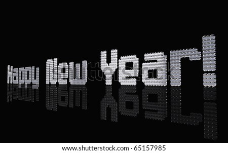 3D Illustration of silver Happy New Year text in right view.