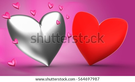 3d Illustration Of Silver Heart Over Rose Background With Second Red And Pink Hearts