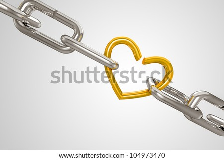 3d illustration of silver shackel attached with golden heart