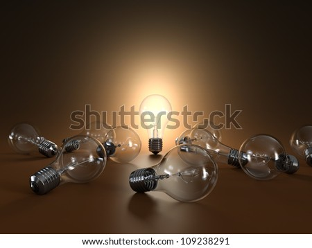 3D illustration of simple light bulbs isolated on orange background