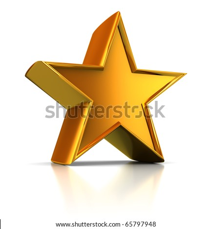 3d illustration of single golden star shape over white background