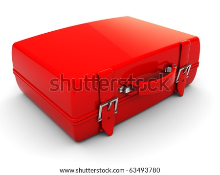 3d illustration of single red travel case, over white background