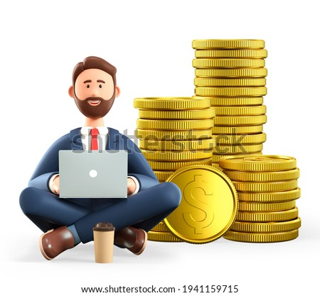 3D illustration of sitting bearded man with laptop and huge stack of gold coins. Cartoon smiling businessman, successful investor in yoga lotus position with big money. Financial savings concept.