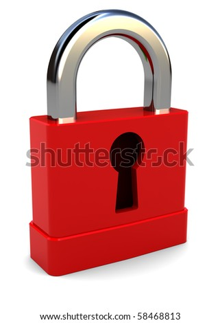 3d illustration of small red lock over white background