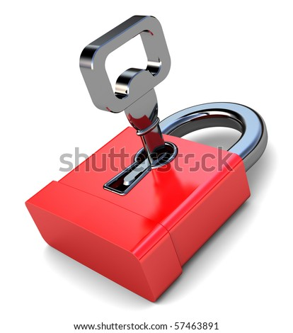 3d illustration of small red lock with key, over white background