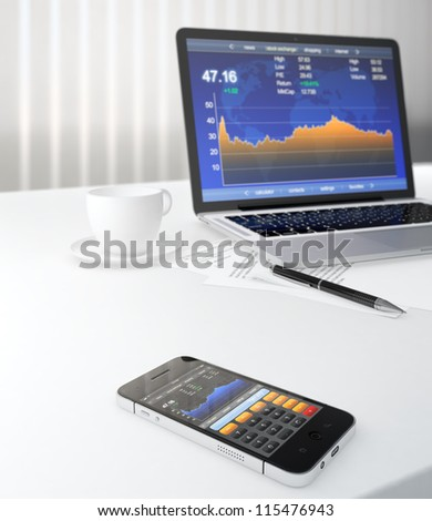 3D illustration of smartphone and laptop on table with stock market application on screen