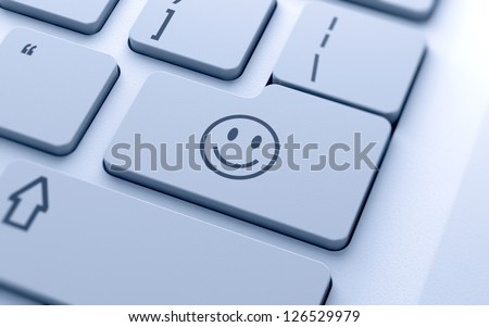 3d illustration of smile icon button on keyboard with soft focus